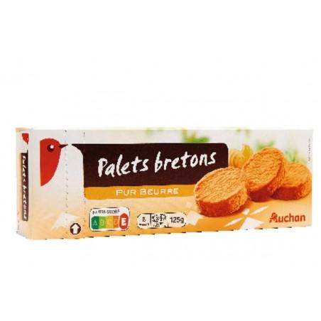 Auchan palets bretons pur beurre 125g