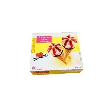Crousty glace 6 cônes vanille et fraise 120ml