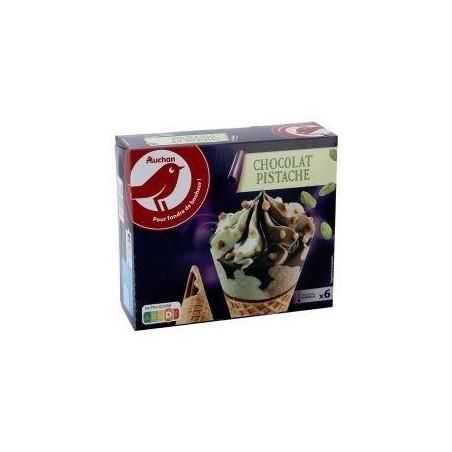 Auchan glace 6 cônes chocolat pistache 396g