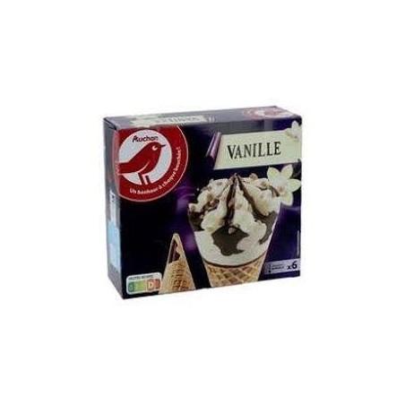 Auchan glace 6 cônes vanille 408,6g
