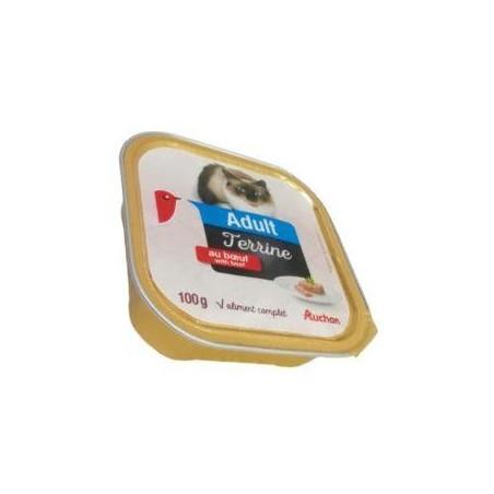 Auchan Adult terrine au boeuf pour chat barquette de 100 g