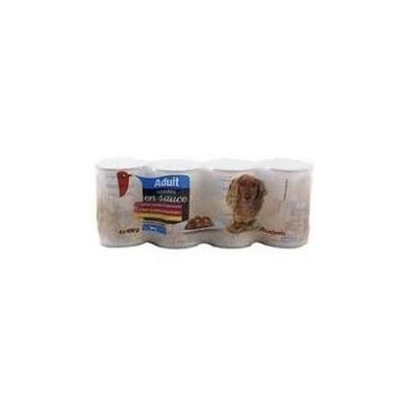 Auchan Adult mijotés en sauce à l\'agneau, au boeuf & au poulet 4x400 g