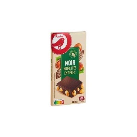 Auchan tablette chocolat noir aux noisettes entières torréfiées 180g