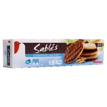 Auchan sablés nappés chocolat au lait 150g