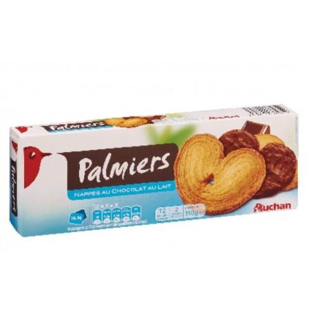Auchan palmiers nappés chocolat au lait 110g